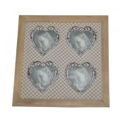 Cornice legno sbiancata con 4 foto forma cuore e quadrato 33x33cm
