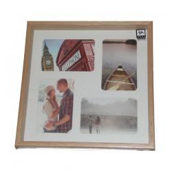 Cornice legno 4 foto 10x15 e quadrato 33x33cm