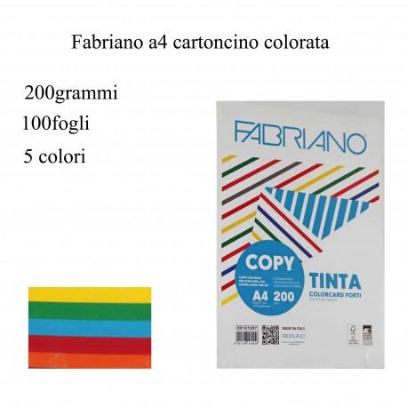 FABRIANO CARTA COLORATA 200GRAMMI 100FOGLI 21X29,7CM